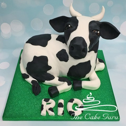 Carved Freesian Cow Cake