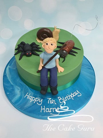 Fishing Boy with Giant Bugs Birthday Cake