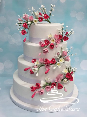 Freesia Sprays Wedding Cake
