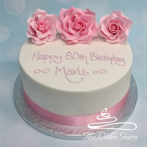 Soft Pink Roses Birthday Cake