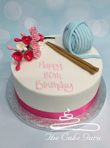Knitting and Flowers Birthday Cake