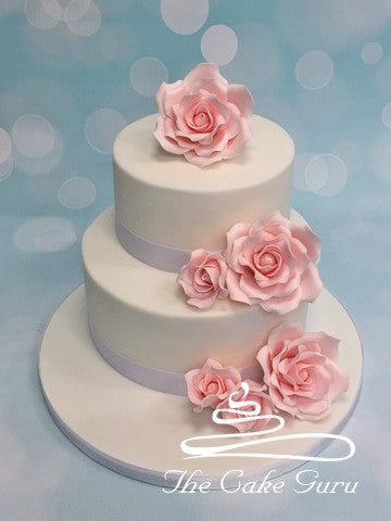 Pink Roses Two Tiered Wedding Cake