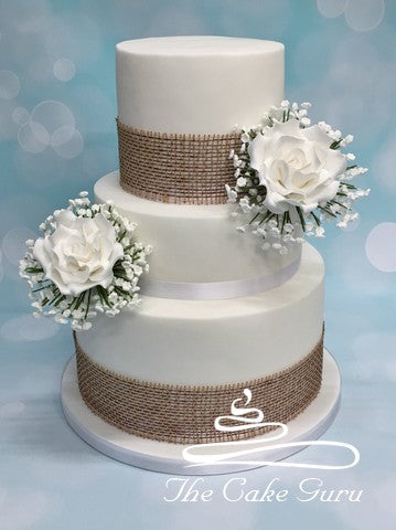 Rose and Gypsophila Posy Wedding Cake