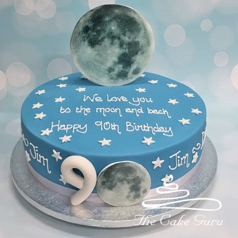 Sky Blue Love You To The Moon and Back Birthday Cake