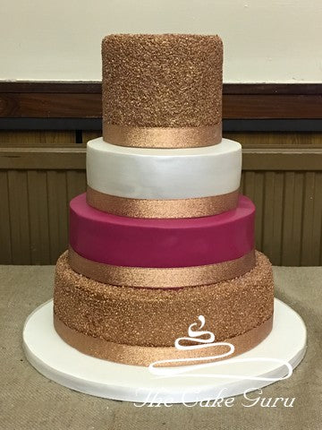 Rose Gold Textured Wedding Cake