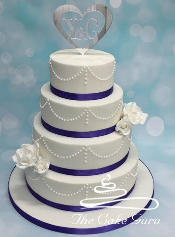Classic Pearl Piping Wedding Cake
