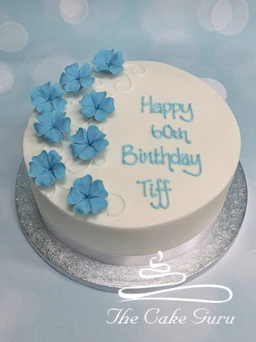 Blue Blossoms Birthday Cake