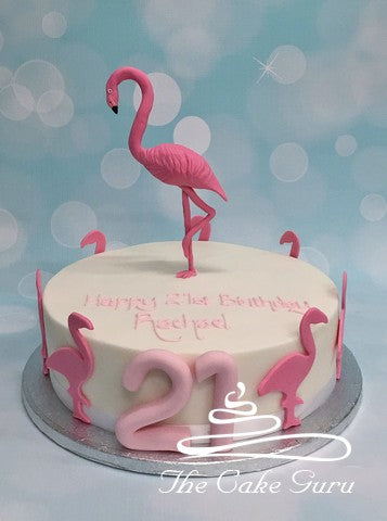 Pleasing Flamingo Birthday Cake The Cake Guru Personalised Birthday Cards Bromeletsinfo