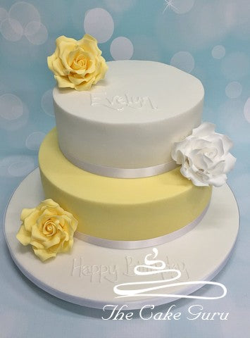 Lemon and White Roses Birthday Cake