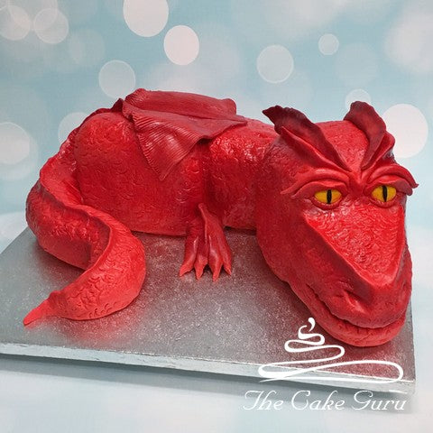 Carved Red Dragon Cake
