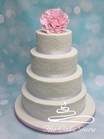 Peony and Tiffany Lace Wedding Cake