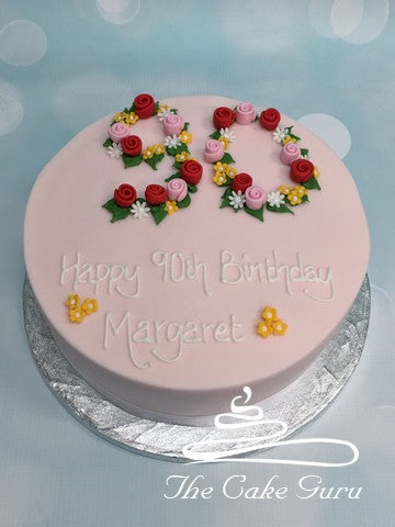 Floral Number Birthday Cake