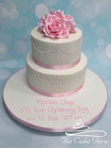 Pearl Piping Detail Christening Cake