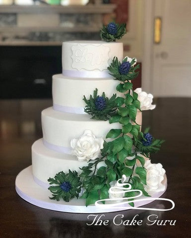 Sea Holly Thistles and Roses Wedding Cake