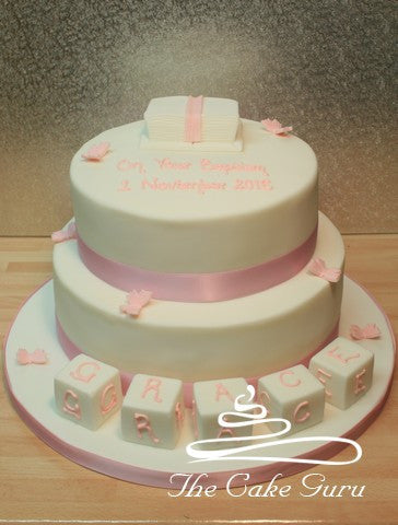Building Blocks and Bible Christening Cake