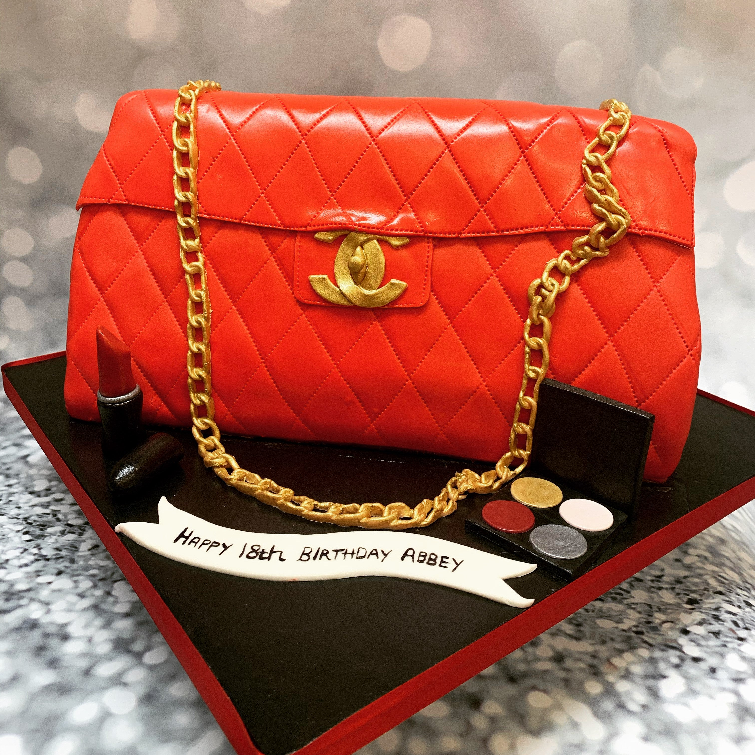 Red Quilted Handbag Cake