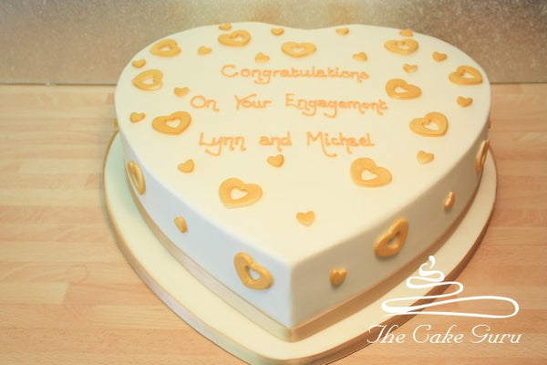 Golden Hearts Engagement Cake