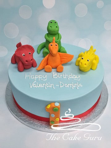 Bright Dinosaurs Birthday Cake
