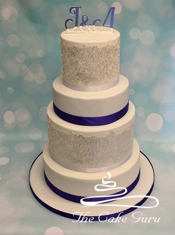 Silver Lace Monogram Wedding Cake