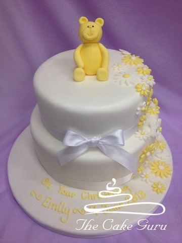 Teddy and Flowers Christening Cake