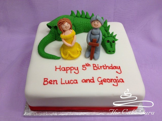 Princess and Knight with Dragon Birthday Cake