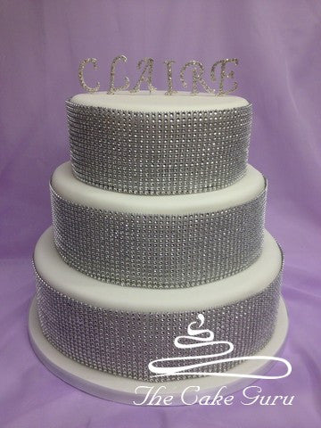 Diamante Name and Sparkle Banding Birthday Cake