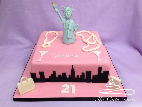 Pink New York City Cake