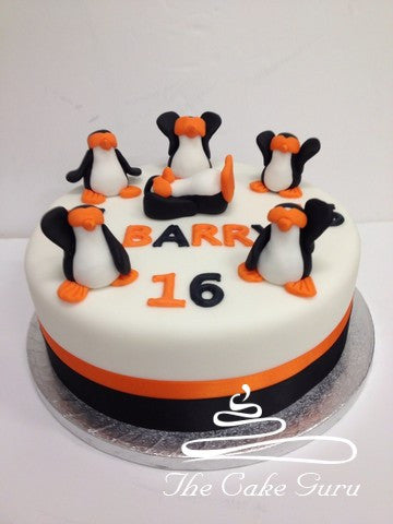 Partying Penguins Birthday Cake