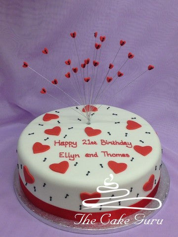 Hearts and Music Birthday Cake