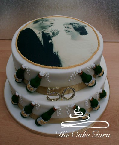 Golden Wedding Champagne Cake