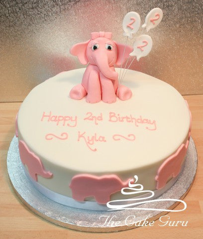 Baby Elephant with Balloons Cake