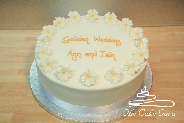 Gold Blossoms Anniversary Cake