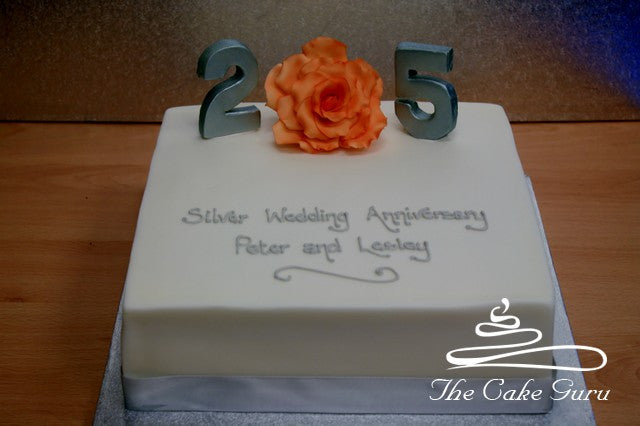 Feature Rose Silver Wedding Cake