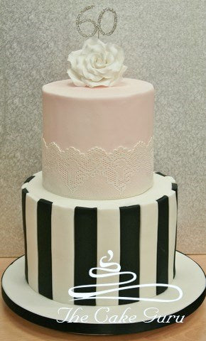 Lace and Contrast Stripes Birthday Cake