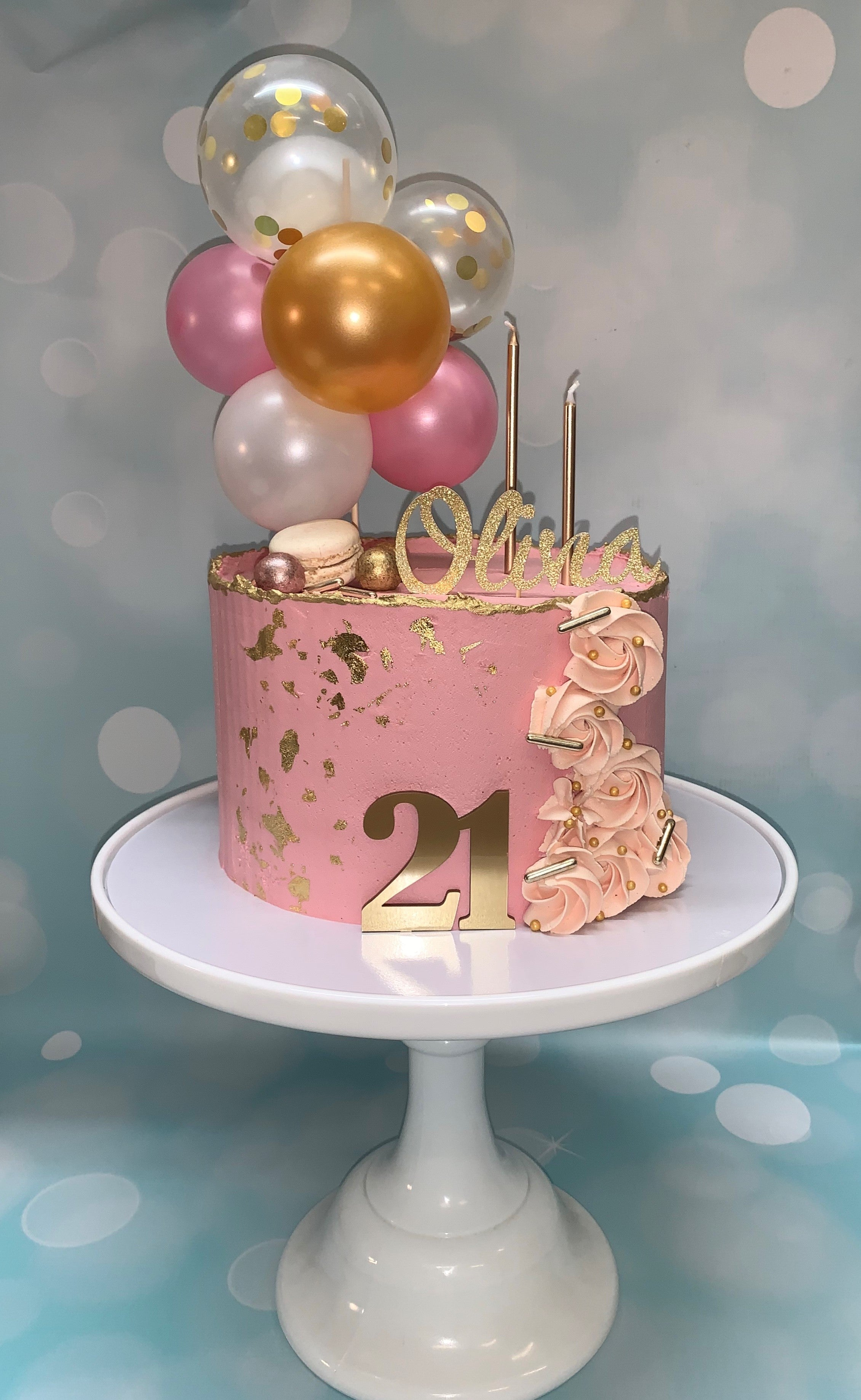 Balloons and Pink Buttercream Birthday Cake