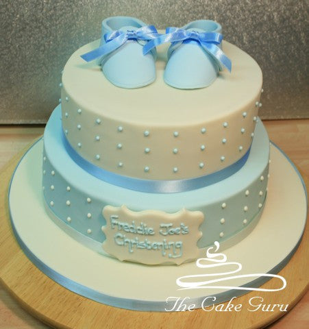 Baby Booties Blue and Ivory Christening Cake