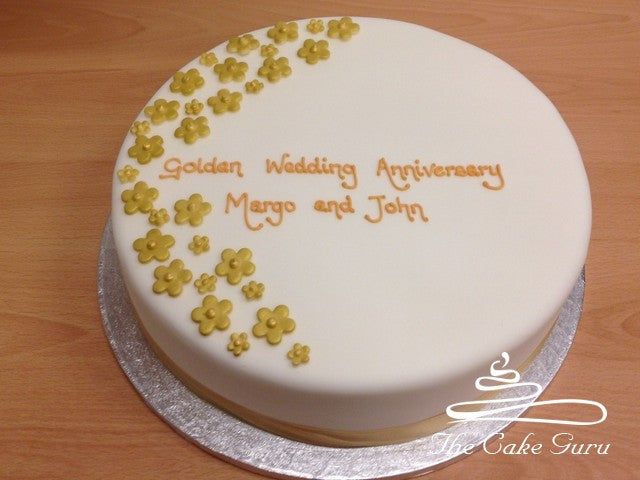 Golden Blossoms Anniversary Cake