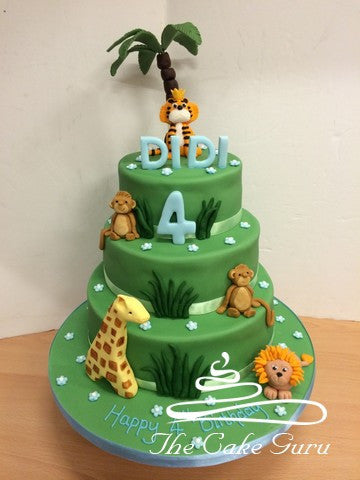 Jungle Animals Tiered Birthday Cake