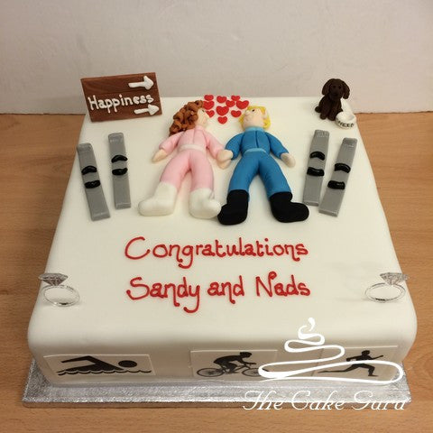 Sports Enthusiasts Engagement Cake