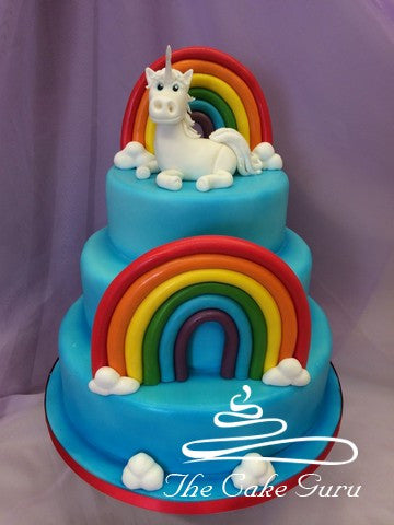 Unicorn and Rainbows Tiered Cake