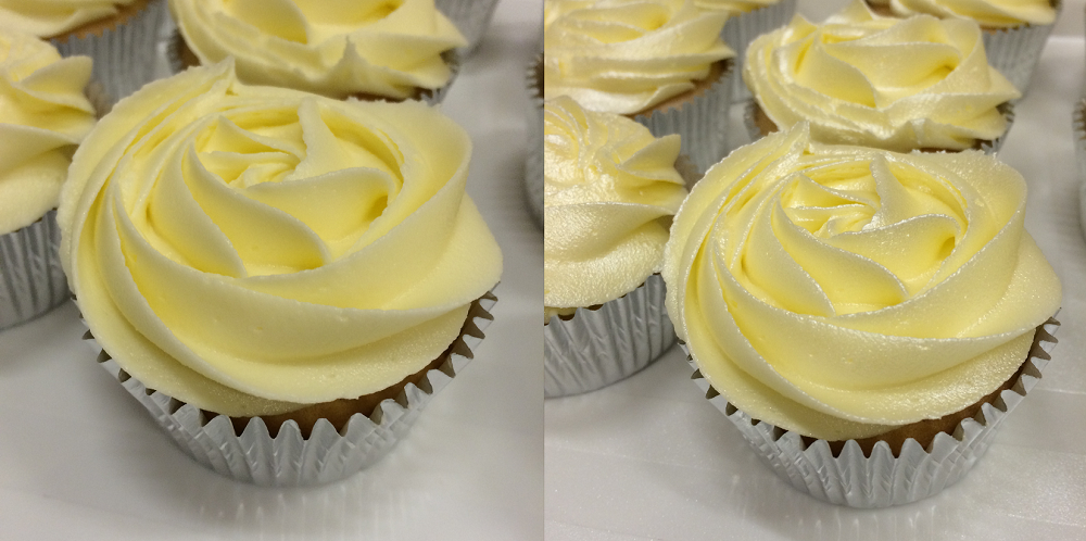 Cupcakes with butter cream icing before and after pearlescent spray