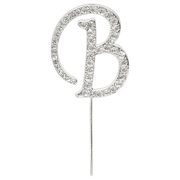 Diamante Letter Cake Pick - B