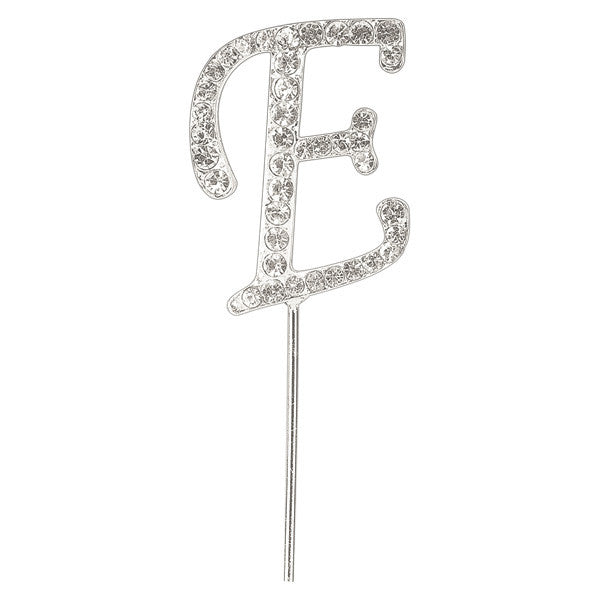 Diamante Letter Cake Pick - E