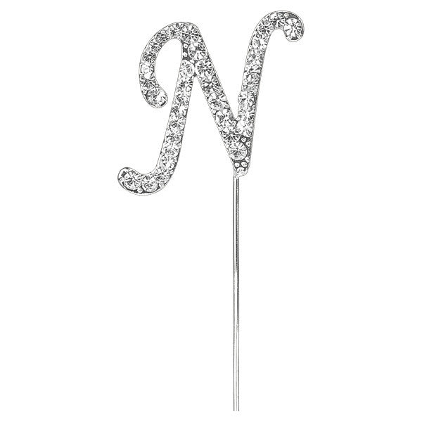Diamante Letter Cake Pick - N