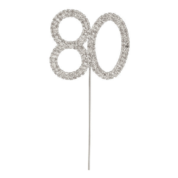 Diamante Number Cake Picks - 80