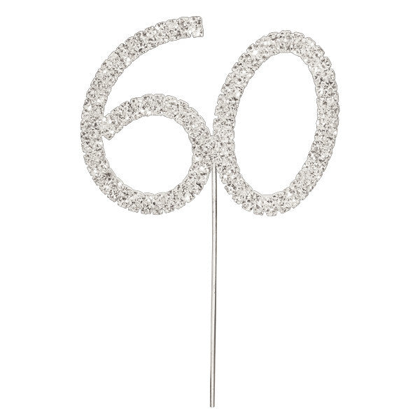 Diamante Number Cake Picks - 60