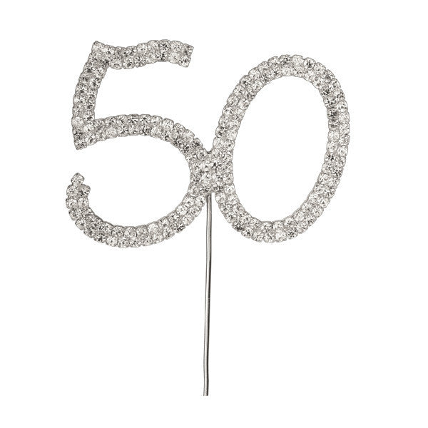 Diamante Number Cake Pick - 50