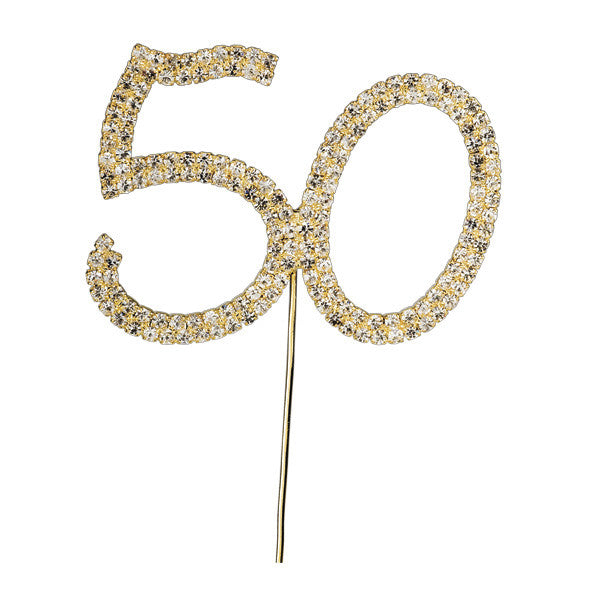 Diamante Number Cake Picks - Gold 50