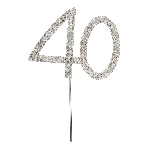 Diamante Number Cake Pick - 40