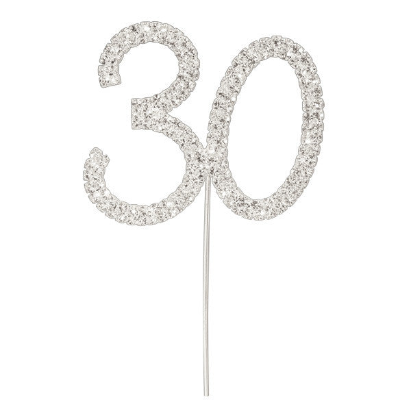 Diamante Number Cake Pick - 30
